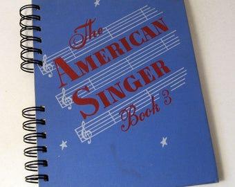 1950 THE AMERICAN SINGER Handmade Journal Vintage Upcycled Book Gift for Singer