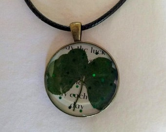 Real Four Leaf Clover Lucky Pendant Necklace #3