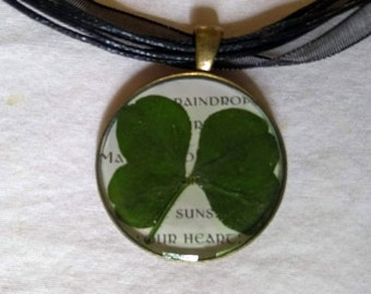 Four Leaf Clover Necklace / Real Lucky Four Leaf Clover Resin Pendant / Irish Blessing