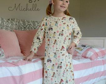 Girls Nightgown Sewing Pattern, long nightgown sewing pattern, Baby Toddler Girls Ruffle Nightgown Pattern Seamingly Smitten jammies pattern