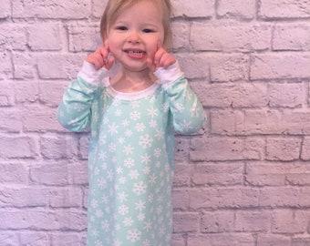 Girls knit nightgown pdf sewing pattern, pajamas pdf sewing pattern, girls nightgown sewing pattern, baby toddler nightgown sewing pattern
