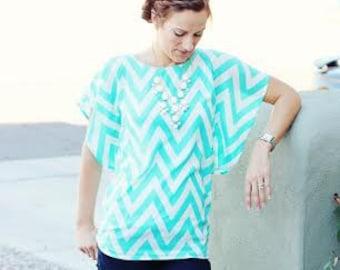 Flutter Top for Women sewing pattern, flutter top sewing pattern for women, flutter sleeve blouse sewing pattern, batwing top PDF pattern