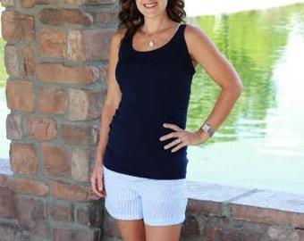 women's elastic waist shorts pattern, printable shorts pdf sewing pattern for women, high waist shorts pattern seamingly smitten