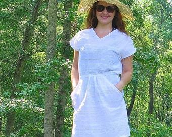 V-neck dress pattern pdf sewing pattern for women, Seaside Dress sewing pattern, kimono sleeve dress sewing pattern for women v neck dress
