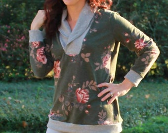 Shawl Collar Sweater sewing pattern for women, Seamingly Smitten, shawl collar blouse womens sewing pattern, shawl collar cardigan pattern,