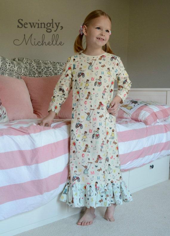 Girls Nightgown Sewing Pattern Pdf Pattern Nightgown Pattern Etsy
