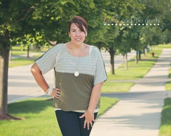Dolman Top pdf sewing pattern for women, womens shirt and tunic sewing pdf pattern