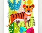 Tiger in the jungle, print, DES66