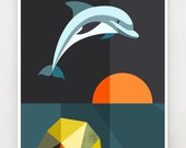 Dolphin at sunset, print, GEO57