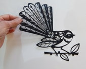 New Zealand, fantail, black, paper cut