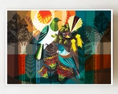 New Zealand forest friends, horizontal print, NZA89