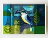 Horizontal, New Zealand, Kingfisher, print, NZA70