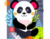 Panda in the Jungle, print, DES67