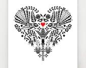 Piwakawaka, or New Zealand Fantail, in a black and white heart, print, NZA23