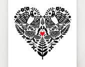 New Zealand Kereru, black and white heart with red, print, NZA12