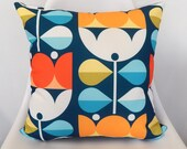 orange and blue, mid century floral, pillow cover