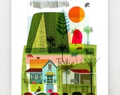 Evening on the Farm, New Zealand print, NZA18