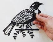 New Zealand, Tui, black, paper cut