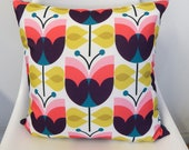 Retro Tulips, mid centry style, pillow cover
