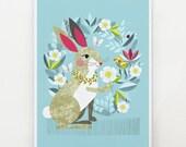 Pretty rabbit and Piwakawaka, print, Ellen Giggenbach, DES43