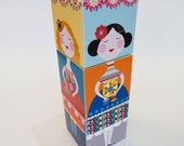64 little ladies, stacking cube, DIY, paper craft, Ellen Giggenbach
