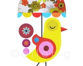 Yellow Bird with Flower Umbrella Print of Paper Cut, DES52