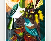 Forest friends, New Zealand birds and flowers, print, NZA81