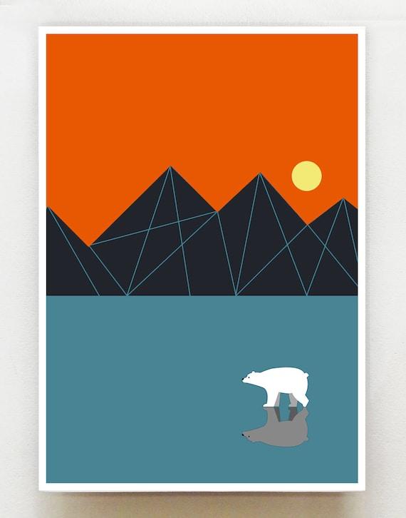 Solo, polar bear on the ice, print, GEO33
