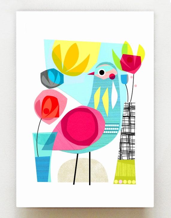 Summer morning, bird, Ellen Giggenbach, print, DES47