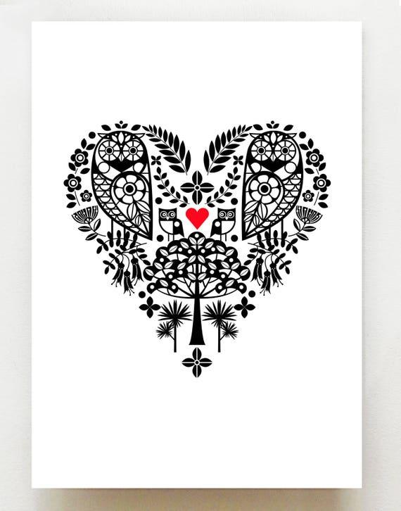Ruru heart, New Zealand Morepork, print, NZA48