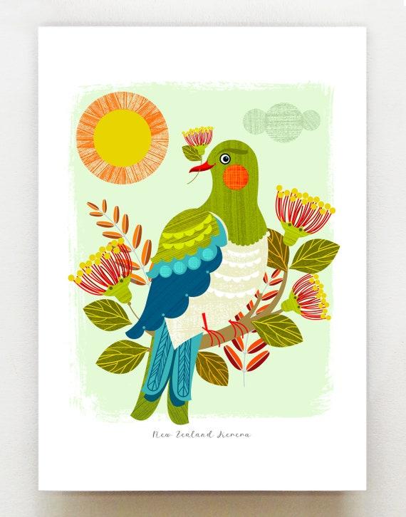 Cheeky New Zealand Kereru, Wood Pigeon, print, NZA45