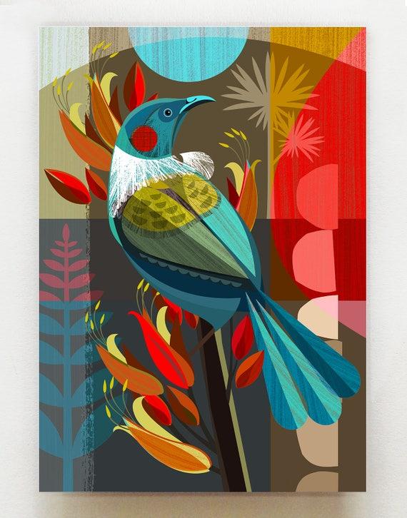New Zealand Tui in Flax, print, NZA7