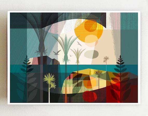 After the rain landscape, print, NZA93