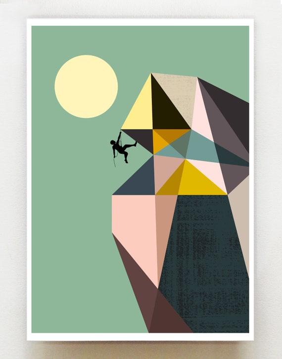 Mountain climber print, GEO13