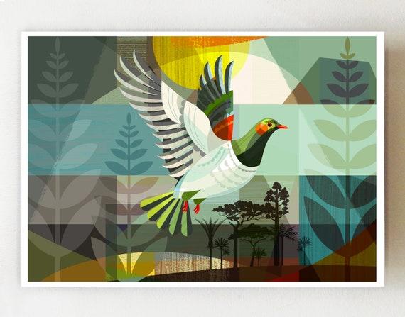 Landscape, New Zealand, Kereru in Flight, print, NZA121