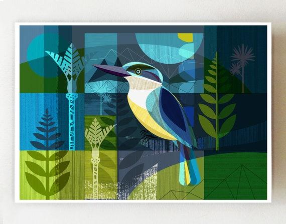 New Zealand Kingfisher, horizontal print, NZA70