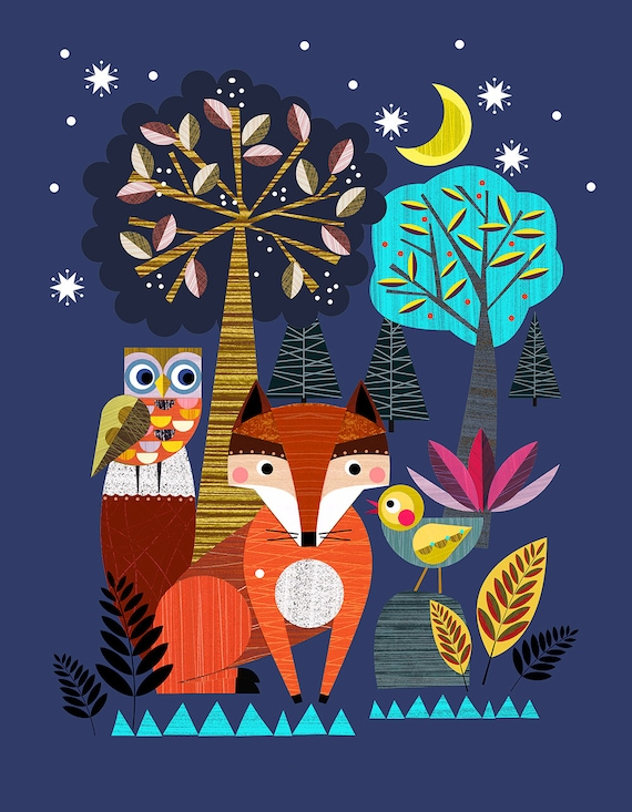 Night time in the forest, Ellen Giggenbach print, DES44