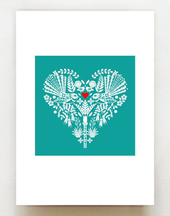 New Zealand Fantail heart, teal NZA4