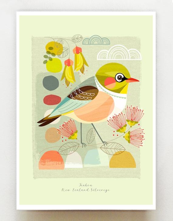 Small birds of New Zealand, Tauhou, Silvereye, print, NZA108