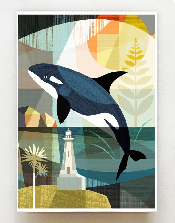 Leaping Orca, in the Wellington harbour print, NZA110