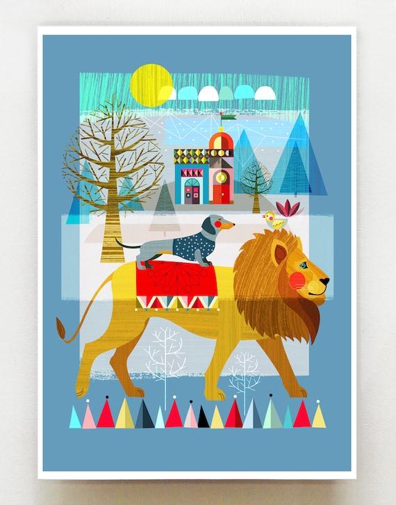 Mr Lion and friends print, DES21