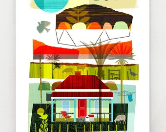 Morning in the Country, New Zealand print