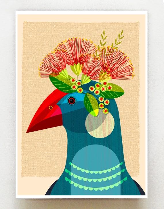New Zealand Pukeko with flower crown print, NZA99