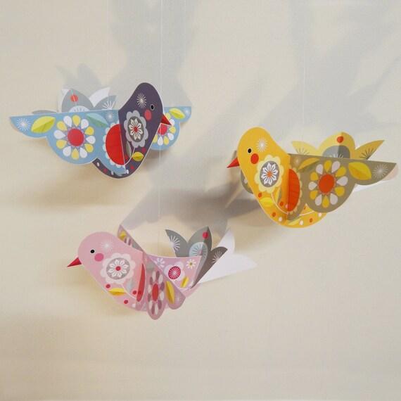 3 little flying birds, DIY paercraft, Ellen giggenbach