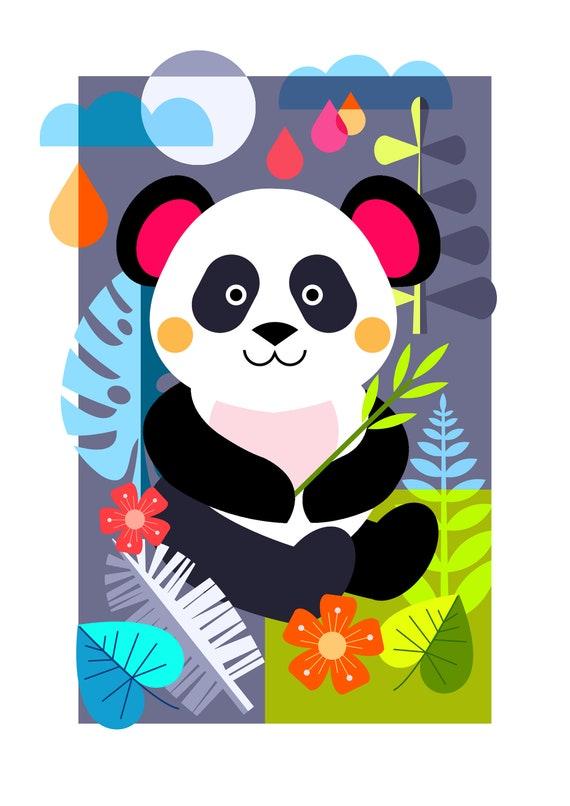 Panda in the Jungle print, DES67