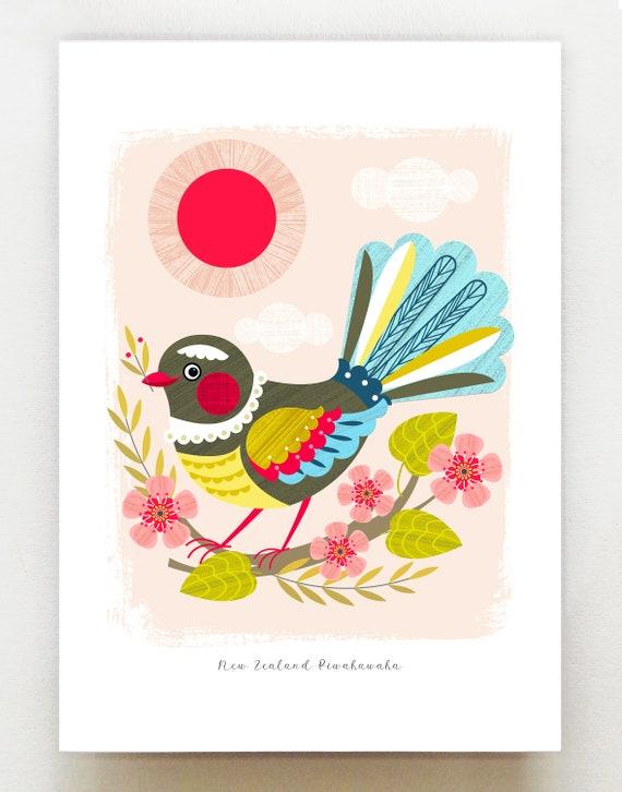 Cheeky New Zealand Piwakawaka, print, NZA44