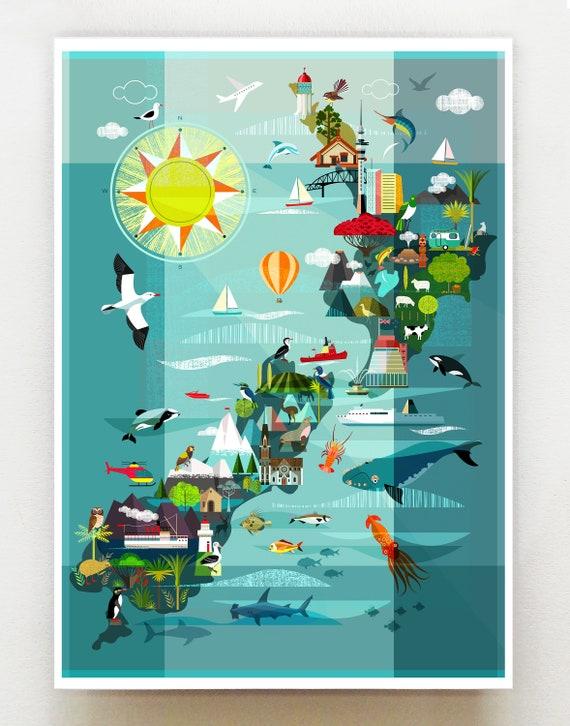 New Zealand Map, print, NZA137