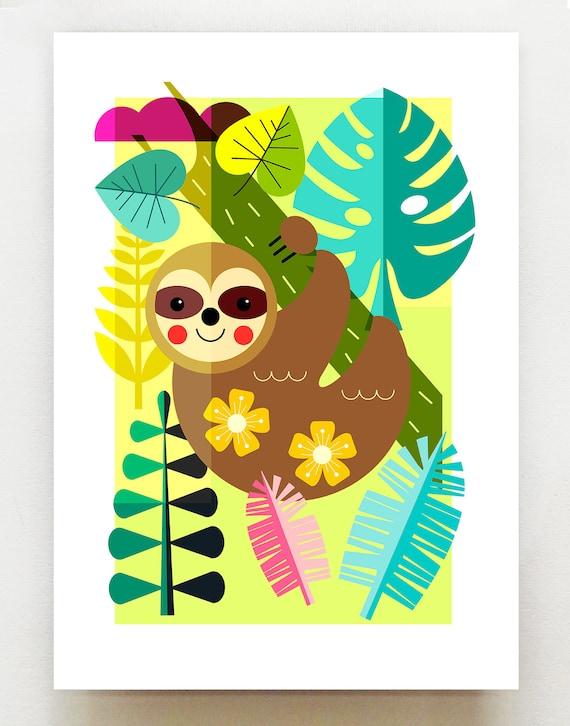 Sloth in the jungle, print, DES63