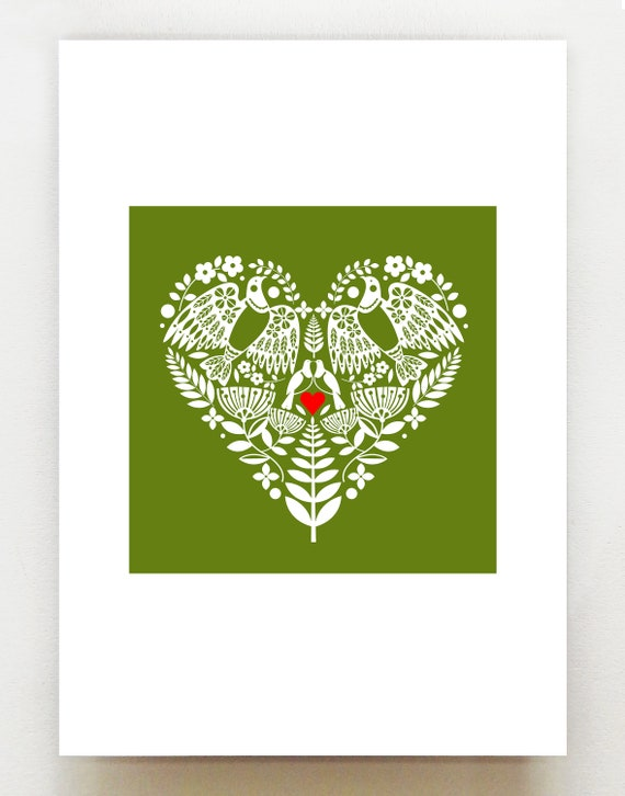 New Zealand Kereru in an olive green heart print, NZA8