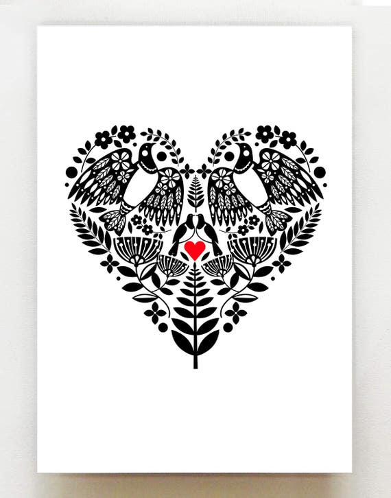 New Zealand Kereru in a black and white heart with red print, NZA12